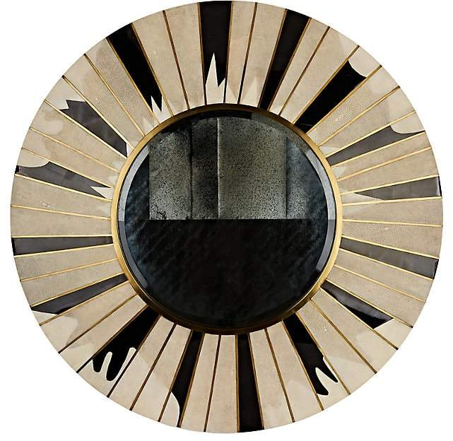 Sunburst Sunlight Shagreen & Pen Shell Large Round Wall Mirror