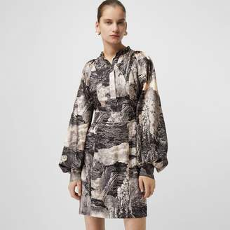 Burberry Dreamscape Print Silk Shirt Dress , Size: 16, Orange