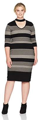 Gabby Skye Women's Plus Size 3/4 Sleeve V Neck Midi Sweater Sheath Dress
