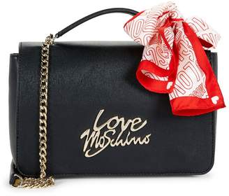 Love Moschino Tie Scarf Faux-Leather Chain Shoulder Bag