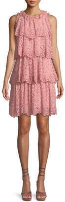 Rebecca Taylor Tiered Sleeveless Pinwheel Eyelet Dress