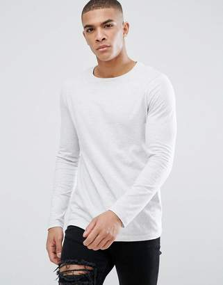 Asos DESIGN crew neck t-shirt with long sleeves in gray