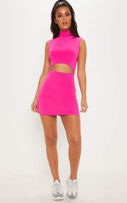 PrettyLittleThing Hot Pink High Neck Cut Out Slinky Bodycon Dress