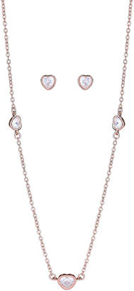Crislu Rose Gold-Tone Heart Necklace & Earrings Set