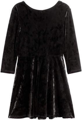 H&M Long-sleeved Velour Dress - Black