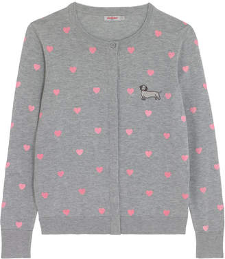 Cath Kidston Sausage Dog Heart Flocked Heart Print Cardigan