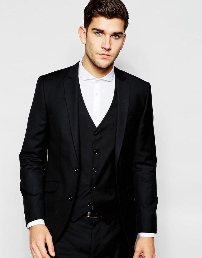 Asos Slim Suit Jacket In 100% Wool