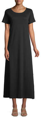 Joan Vass Short-Sleeve A-line Long Dress, Petite