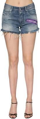 Dolce & Gabbana Logo Printed Cotton Denim Shorts