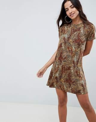 Asos Design DESIGN leopard print swing dress