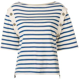 Sonia Rykiel striped buttoned shoulder top