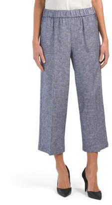 Linen Blend Wide Leg Two Tone Pants