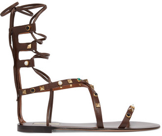 Valentino - Rockstud Embellished Leather Sandals - Chocolate $1,495 thestylecure.com