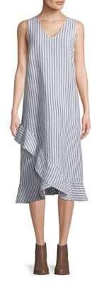 Lord & Taylor Plus Ruffled Sleeveless Linen Dress