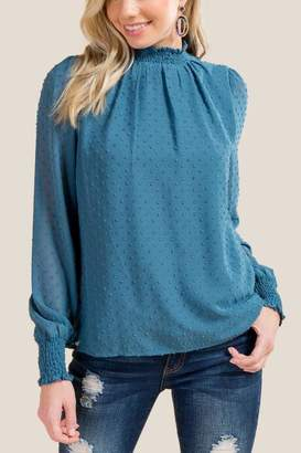 francesca's Tara Smocked High Neck Blouse - Dark Teal