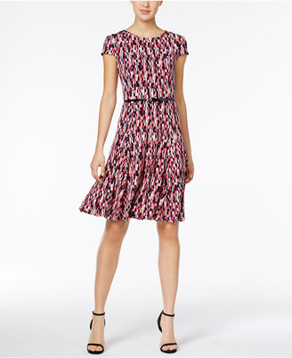 Jessica Howard Belted Printed Fit & Flare Dress $69 thestylecure.com