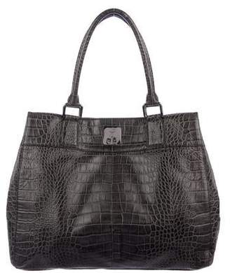 MCM Embossed Leather Tote