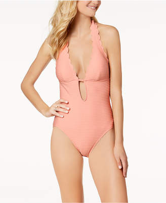 Kate Spade Textured Scalloped Halter One-Piece Swimsuit