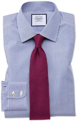 Charles Tyrwhitt Extra Slim Fit Non-Iron Navy Bengal Stripe Cotton Dress Shirt French Cuff Size 15.5/33