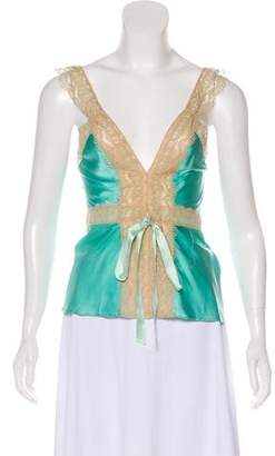 Miguelina Satin Lace-Trimmed Top