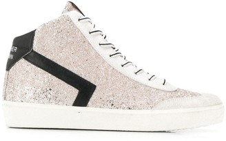 Leather Crown embellished hi-top sneakers