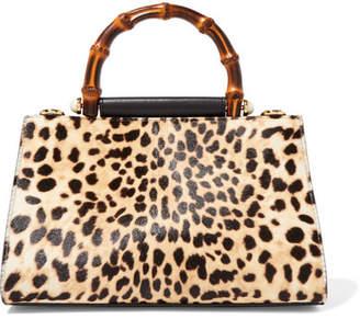 Gucci Nymphaea Mini Leopard-print Calf Hair And Leather Tote - Beige
