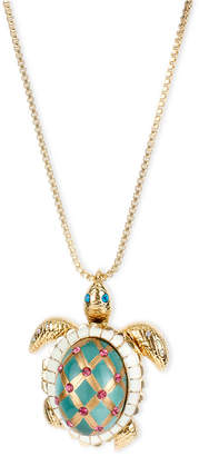 Betsey Johnson Gold-Tone Glass Pearl Crystal Turtle Pendant