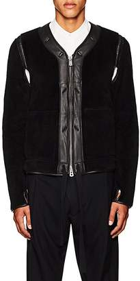Takahiromiyashita theSoloist TAKAHIROMIYASHITA THESOLOIST MEN'S LEATHER-TRIMMED COTTON FLEECE JACKET