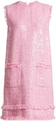 MSGM Sequin-embellished cotton-blend tweed mini dress