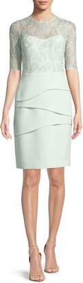 Rickie Freeman For Teri Jon Illusion Lace Half-Sleeve Tiered Dress