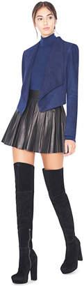 Alice + Olivia Navy Harvey Suede Open Front Jacket