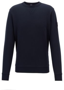 BOSS Relaxed-fit sweatshirt in French terry with sleeve badge