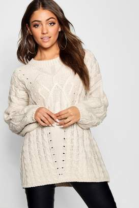 boohoo Oversized Cable Knit Balloon Sleeve Jumper