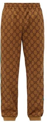 Gucci Gg Supreme Web Stripe Track Pants - Mens - Camel
