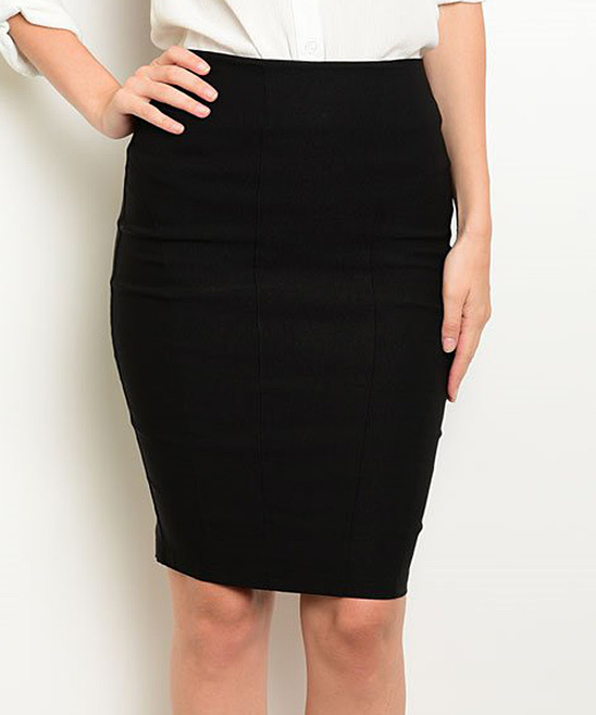 Black Back-Slit Pencil Skirt