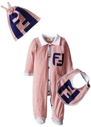 Fendi Kids - Striped Footie/Hat/Bib Gift Set w/ Logo Boy's Jumpsuit & Rompers One Piece $295 thestylecure.com