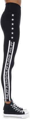 Philipp Plein LOGO SIDE BANDS TECH JERSEY LEGGINGS