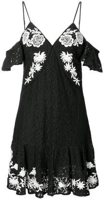 Aniye By cold shoulder floral embroidered lace dress