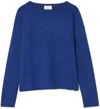 Allude Metallic Wool And Cashmere-blend Sweater - Navy