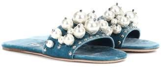 Miu Miu Embellished velvet slides