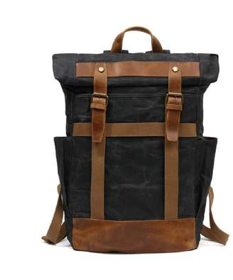 EAZO - Large Roll Top Waxed Canvas Backpack In Black