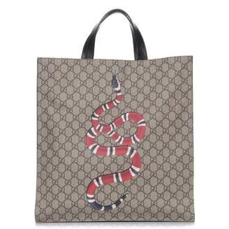 Gucci Kingsnake Tote Monogram GG Black/Taupe/Red/White