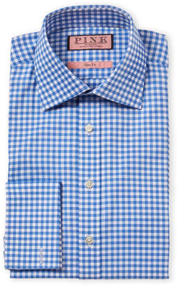 Thomas Pink Slim Fit Check French Cuff Dress Shirt