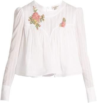 Natasha Zinko Floral-appliqué cotton-voile blouse