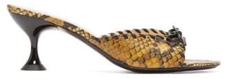 STAUD Leonardo Snake Effect Leather Mules - Womens - Yellow Multi
