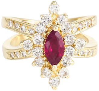 One Kings Lane Vintage 14K Natural Ruby & Diamond Cocktail Ring - Precious & Rare Pieces