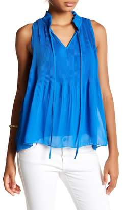 Romeo & Juliet Couture Micro Pleated Split Neck Blouse