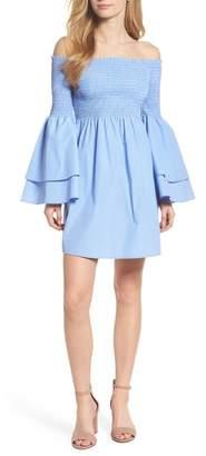 Chelsea28 Smocked Off the Shoulder Bell Sleeve Dress