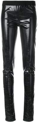 Rick Owens lacquered denim simple leggings