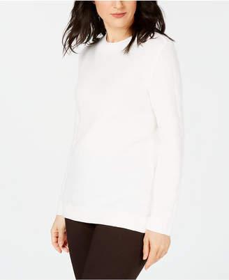 Karen Scott Long-Sleeve Cotton Sweater